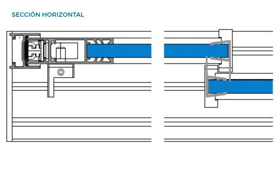 corredera de cristal vista tecnica seccion horizontal correderas sistemas de aluminio para la construccion alumed alicante