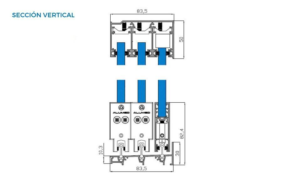 corredera de cristal vista tecnica seccion vertical correderas sistemas de aluminio para la construccion alumed alicante