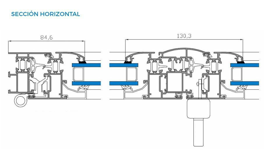alumed-45-rpt-vista-tecnica-seccion-horizontal-abisagradas-sistemas-de-aluminio-para-la-construccion-alumed-alicante