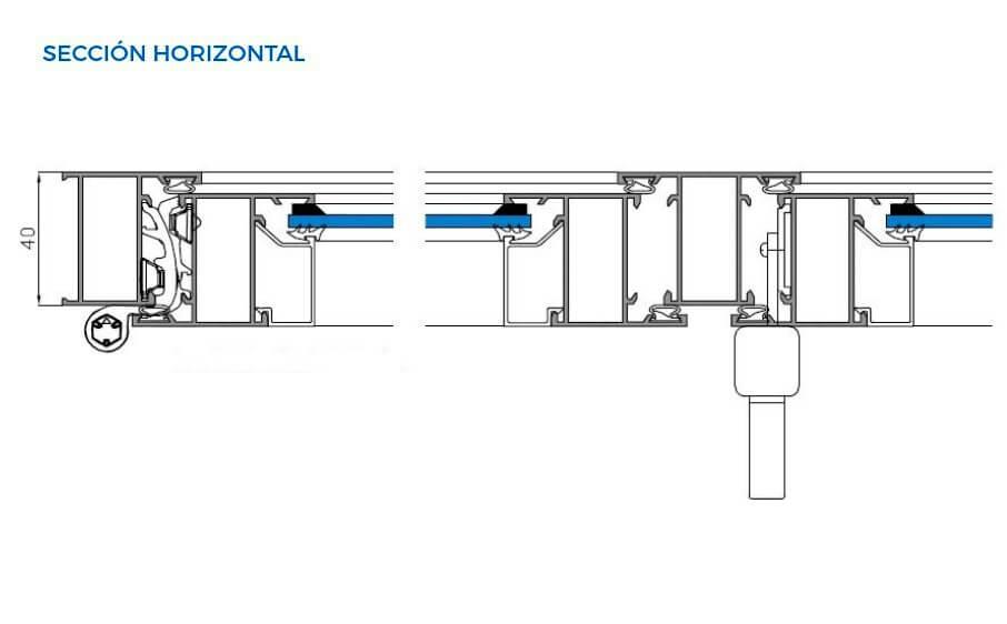 alumed 40 20 vista tecnica seccion horizontal abisagradas sistemas de aluminio para la construccion alumed alicante