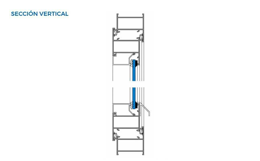 alumed 40 20 vista tecnica seccion vertical abisagradas sistemas de aluminio para la construccion alumed alicante