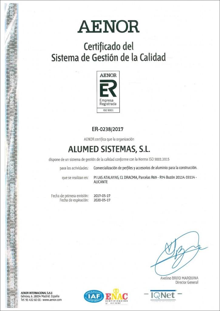 certificado aenor ISO 9001 2017 sistemas de aluminio para la construccion alumed aluminium systems alicante