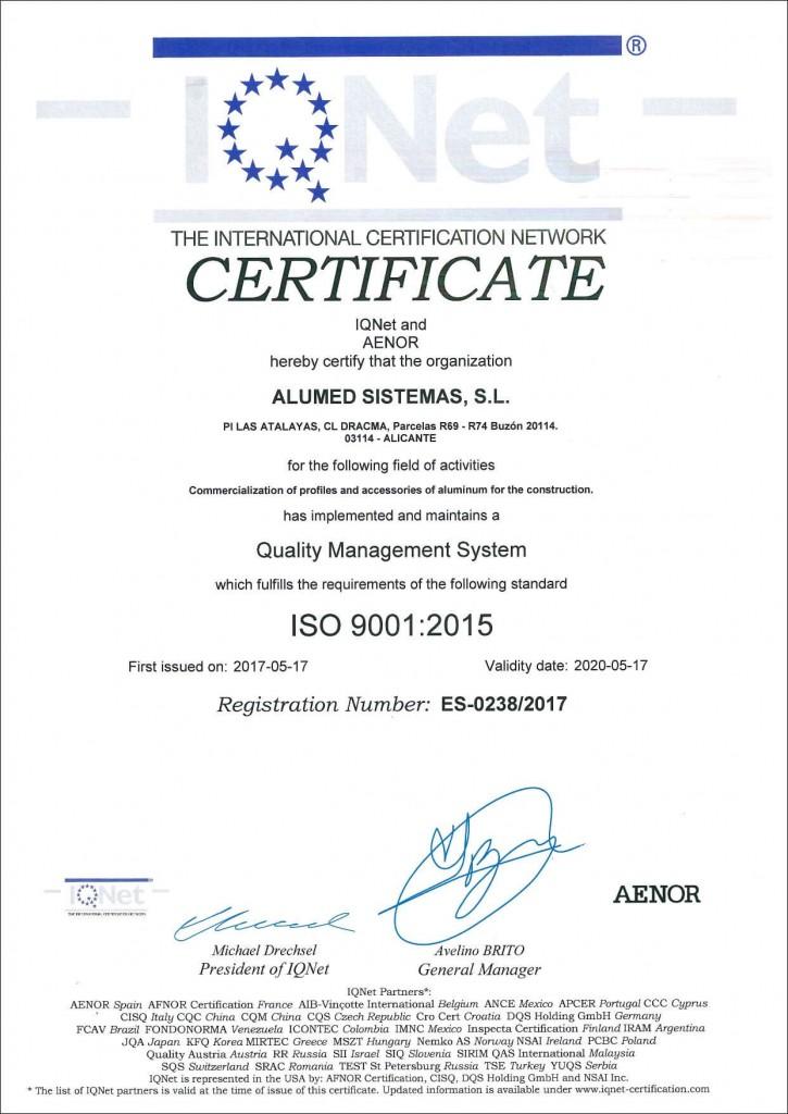 certificado calidad IQNet ISO 9001 2017 sistemas de aluminio para la construccion alumed aluminium systems alicante