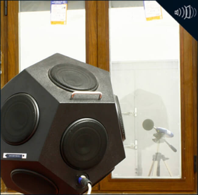 fuente sonora de ruido y microfono ensayo acustico ventana sistemas de aluminio para la construccion alumed aluminium systems alicante