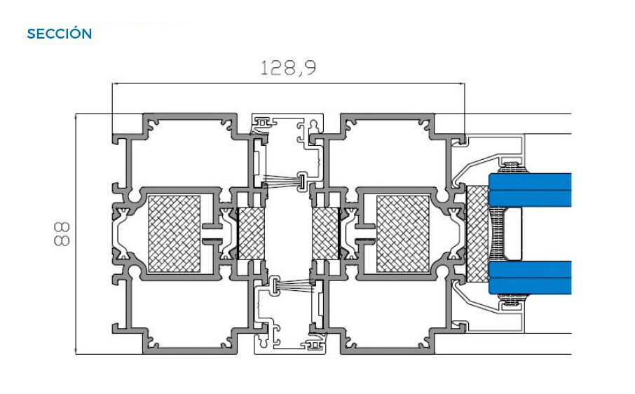 simetrika thermic 88 abisagradas puerta pivotante vista tecnica seccion horizontal sistemas de aluminio carpinteria arquitectura para la construccion alumed alicante