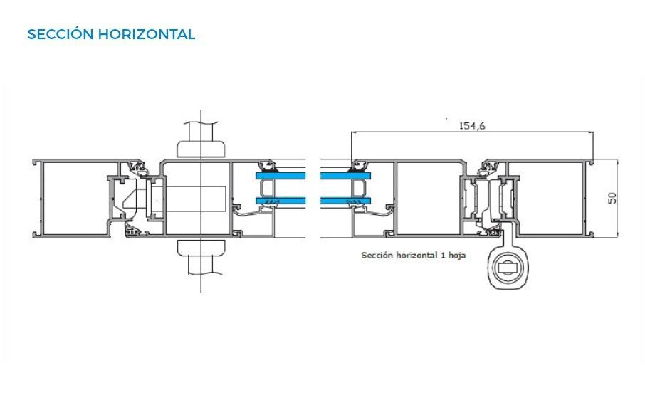 alumed 58 abisagradas vista tecnica seccion horizontal sistemas de aluminio carpinteria arquitectura para la construccion alumed alicante