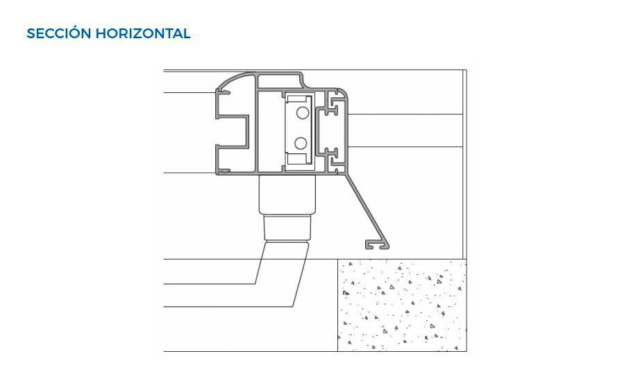mallorquina extramuro mallorquinas vista tecnica seccion horizontal sistemas de aluminio carpinteria arquitectura para la construccion alumed alicante