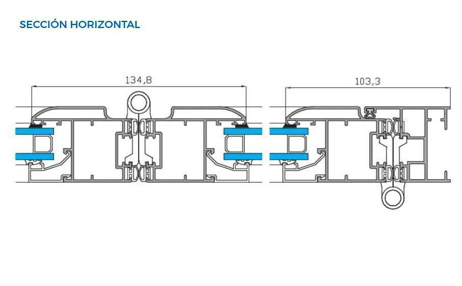 plegable cala vista tecnica seccion horizontal sistemas de aluminio carpinteria arquitectura para la construccion alumed alicante