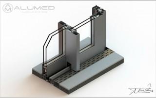 supra amc correderas producto sistemas de aluminio carpintería arquitectura para la construcción alumed alicante render1