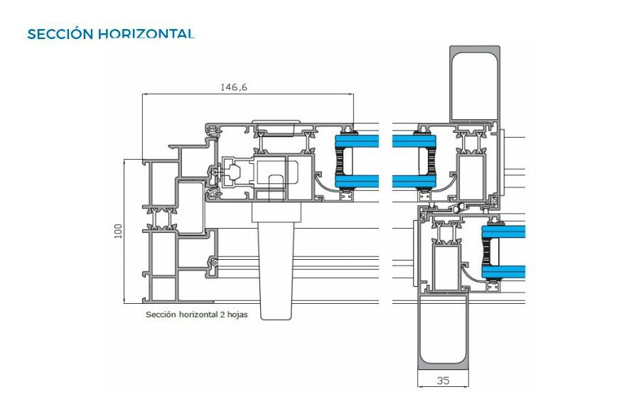 supra amc correderas vista tecnica seccion horizontal sistemas de aluminio carpinteria arquitectura para la construccion alumed alicante