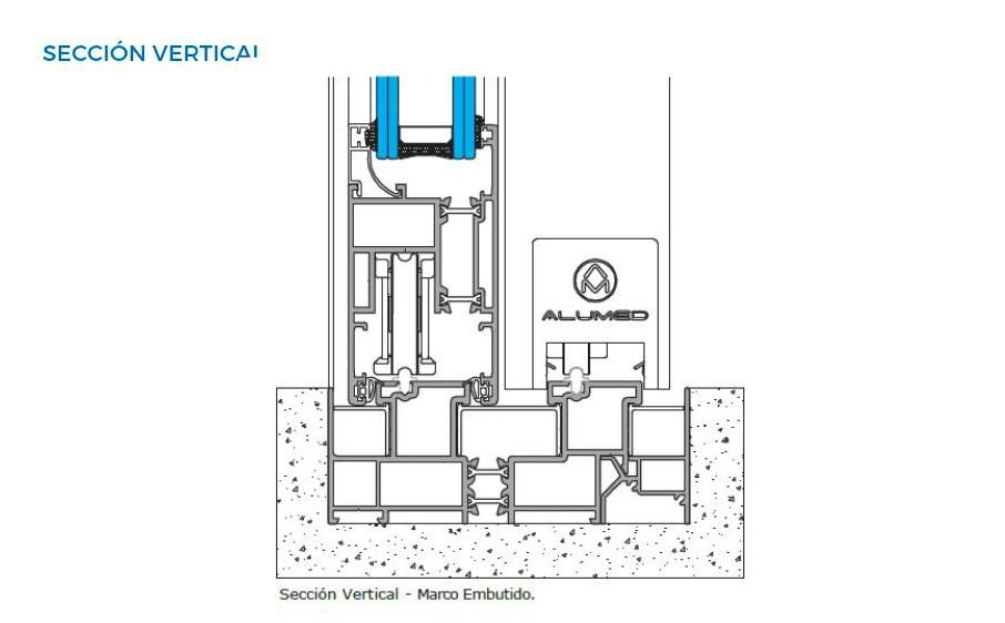 supra amc correderas vista tecnica seccion vertical sistemas de aluminio carpinteria arquitectura para la construccion alumed alicante